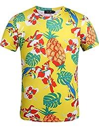 SSLR Shirt Hawaiien Homme Tropical Casual Manche Courte Col Rond