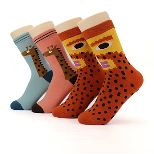 Waymoda Unisex Adults Printed Cotton Crew Socks, 4 Pairs, Funky Sublimation Color Pattern, Mens/Womens/Boys/Girls Socken UK 1-5/EUR (Pair Men's Kostüm Halloween Mädchen)