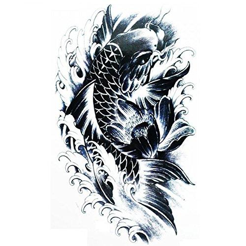 Halloween Tattoo für Erwachsene Schwarz-Weiß-Fisch schwimmt realistisch und nicht toxisch gefälschte (Geist Gelten Für Halloween)