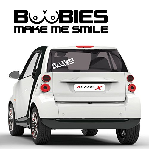 Boobies make my Smile Provokation Sticker Tuning Heckscheibe Autotattoo Carstyle Titten |F158
