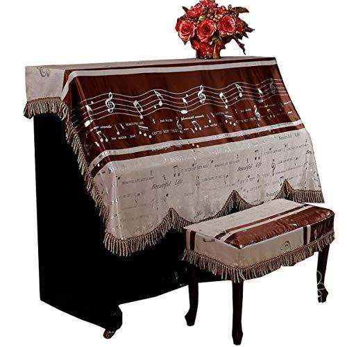 HQQ Gartenmöbelbezug Europäische Piano Cover Noten Stoff verdickt Europäische Piano Full Cover Schokolade Farbe geeignet for die meisten Klaviergrößen (Size : Double Stool Covers)