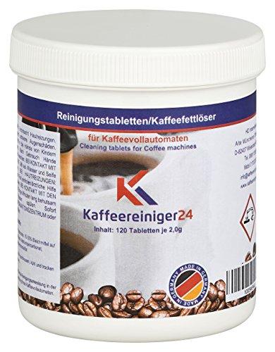 K Kaffeereiniger24 I 120 Reinigungstabletten für Kaffeevollautomaten je 2g - Hochwertige Reinigungstabs geeignet für Jura, Siemens, Melitta, Krups uvm. - Made in Germany