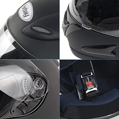 Yorbay Motorradhelm Integralhelm Sturzhelm Helm mit verschienden Typen & in unterschiedlichen Größen (Schwarz matt, M) - 7