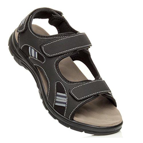 Herren Kleine Absatz Flach Klettverschluss Riemen Flexibel Sommer Sandalen Größe Schwarz