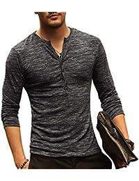 dbdd172120f Bold Manner T-shirt Homme Coton Manches Longues Col Tunisien Fermé Casual  Automne