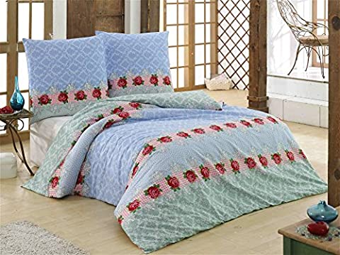 3 tlg. Renforcé Bettwäsche Set   Bettdeckenbezug 200x200 cm, mit