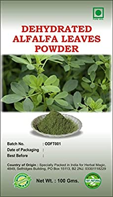 100% PURE & NATURAL 100G ORGANIC CERTIFIED DEHYDRATED ALFALFA LEAVES POWDER (GLUTEN/SUGAR FREE/PURE VEG) MAGIC OF HERBS ONLY BY HERBAL MAGIC (Pure leaves/fruit/root powder NOT treated/ tinctured, or cooked powder extracts) by Herbal Magic
