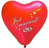 Luftballons, Herz-Ballons, Rot, 5 Stück, Hochzeitsdeko, Raumdekoration, Bedruckte Ballons, Hochzeit oder Party-Deko, Just Married, Herzförmige Latex Luftballons