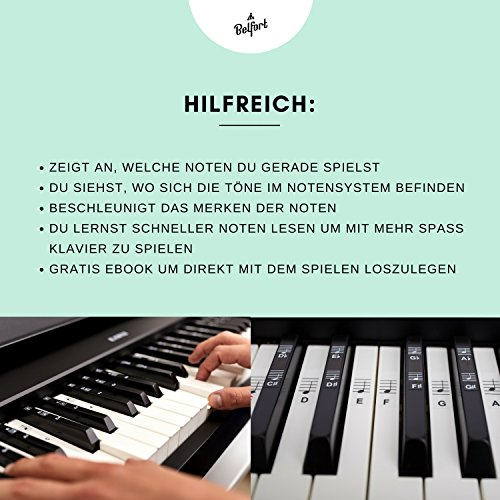 Klavier + Keyboard Noten-Aufkleber für 49 | 61 | 76 | 88 Tasten + Gratis Ebook | Premium Piano Sticker Komplettsatz für schwarze + weisse Tasten | C-D-E-F-G-A-H | einfache Anleitung auf Deutsch - 4