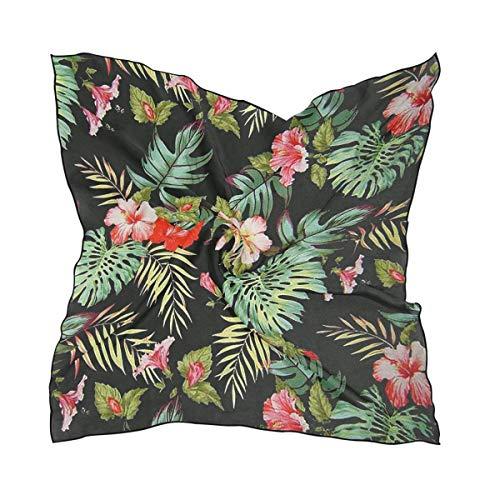 xiadayu Tropical Flowers Palm Leaves Square Neck Scarf Satin Silk Feeling Head Hair Wraps Twill Satin Polyester Hair Scarf Headband 23.6