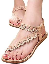 Sandalias de mujer plataforma ❤️ Amlaiworld Sandalias con cuentas de Bohemia para mujer de verano Sandalias con punta de clip Zapatos de playa Calzado zapatillas Mujer (Caqui, 38)
