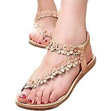 Sandalias de mujer plataforma ❤️ Amlaiworld Sandalias con cuentas de Bohemia para mujer de verano Sandalias con punta de clip Zapatos de playa Calzado zapatillas Mujer (Caqui, 40)