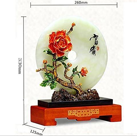 Kunsthandwerk Jade Sicherheitstaste Dekoration Kreativ Zuhause Zubehör Emaille Pfingstrose Bai Yubi High-End natürlich Geschenk Box