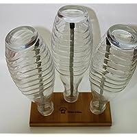 StreamBrush® Flaschenhalter Abtropfständer aus Bambusholz / Edelstahl für 0,5 L PET 1,0 PET 0,6 Liter Glas Crystal Sodastream Flaschen sowie Emil & andere Systemflaschen ( 3 Fach )
