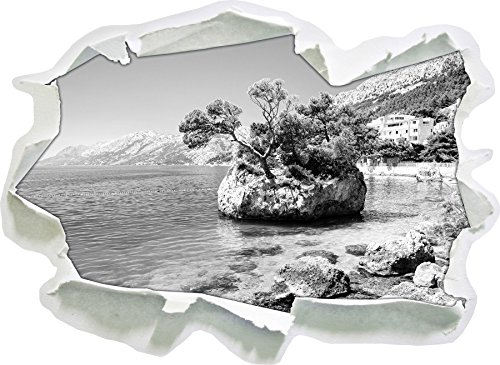Preisvergleich Produktbild Wunderschöner Dalmatia Strand in Kroatien Kunst B&W, Papier 3D-Wandsticker Format: 62x45 cm Wanddekoration 3D-Wandaufkleber Wandtattoo