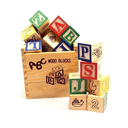 PLAY CUBE ABC 123 Wooden Blocks Letters Numbers with Box Storage Case, Wooden (48 Pieces)