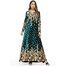 iHAZA- Vestido de Traje de ramadán para Mujer Musulmana Falda Larga de Abaya Vestido Largo