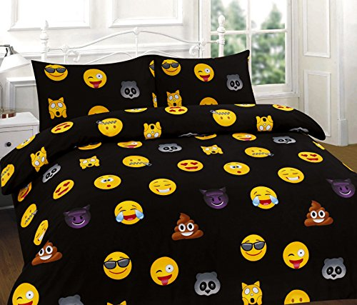 IKON MODERN DUVET QUILT COVER SET WITH PILLOW CASES ,SINGLE, DOUBLE, KING, SUPER KING (Double, Black)