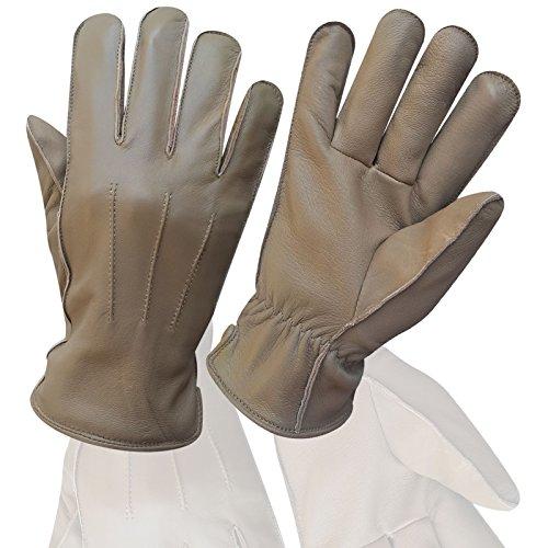 Hommes de qualité supérieure en cuir véritable souple de Coiffeuse Fashion Slim Gants–9086–Beige – Beige