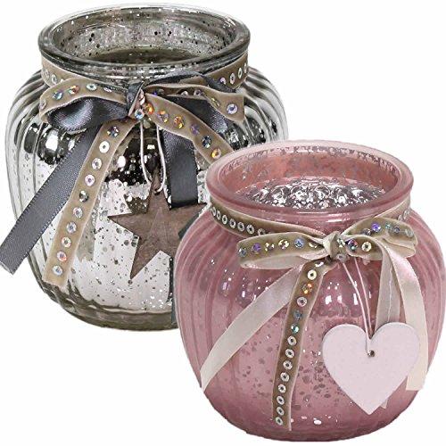 LS Design 2x Windlicht Glas Kugel Teelichthalter Kerzenständer Kerzenhalter Shabby Rosa
