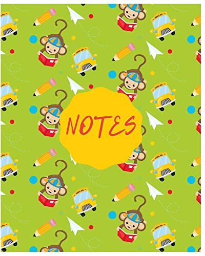 Notes: Cute Monkey Notebook/Journal for Adults/Children Animals Lovers to Writing (8x10 Inch. 20.32x25.4 cm.) Wide Ruled Lined Paper 120 Blank Pages (GREEN&YELLOW&RED&BLUE Pattern)