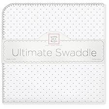 SwaddleDesigns Ultimatives Pucktuch, Premium Baumwollflannell, Punktmuster, Silberfarben