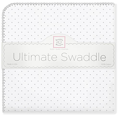 SwaddleDesigns Ultimatives Pucktuch, Premium Baumwollflannell, Punktmuster, Silberfarben