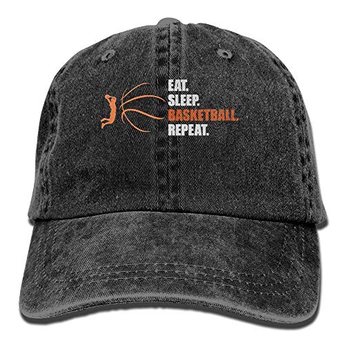 TeeStars - Eat Sleep Basketball Repeat Unisex Flat Bill Hip Hop Cap Baseball Hat Head-Wear Cotton Snapback Hats Navy