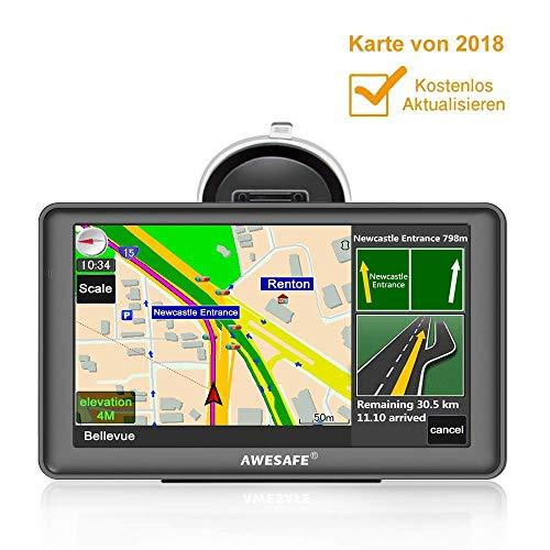 GPS Navi Navigation für Auto LKW PKW KFZ Navigationsgerät 7 Zoll Lebenslang Kostenloses Kartenupdate POI Blitzerwarnung Sprachführung Fahrspurassistent 2018 Europa Karten -