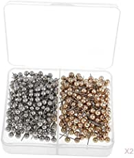 MagiDeal 800-count Map Push Pins,Thumbtack,Fabric Marking, 13mm Round Head Stainless Needle Points Push Pins,Sliver & Gold for Bulletin Board,Office Home School Accessories Supplies 2 Boxes