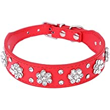 Pet Moon Pet Collars Rows Rhinestone Bling Flower Studded PU Leather Dog Collar for Small or Medium Dogs (Red, M)