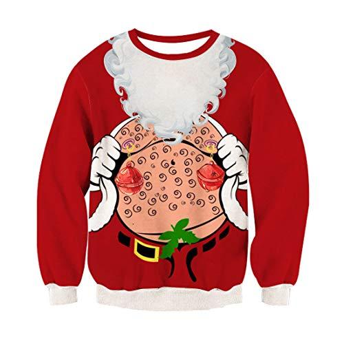 0fc3f9e4a82 Ugly Xmas Sweater Unisexo Sudaderas 3D Digital Print Campana Navidad Patrón  Cómodo Suéter Ugly Pullover para