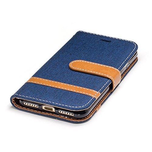 Trumpshop Smartphone Case Coque Housse Etui de Protection pour Apple iPhone 7 Plus (5.5 Pouce) [Noir] Cowboy Style Mode Portefeuille PU Cuir Fonction Support Anti-Chocs Bleu Profond