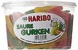 Haribo Saure Gurken Fruchtgummi Dose, 150 Stück, 1350g