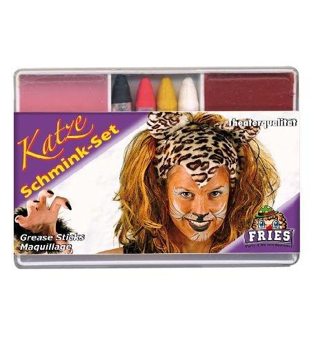 Schminkset Katze 6tlg. Katzenset Foundation + 4 Schminkstifte + Abschminke Karnevals - Schminke