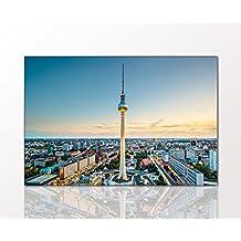 """Cuadro de ciudad """"Torre televisiva de Berlin"""" 80 x 120cm sobre mural y marco cuña de madera (ciudad, horizonte, Berlin, capital, mar de casas, torre televisiva) . Mejor calidad, terminado a mano en Alemania - Simplemente desempacar, colgar y disfrut"""