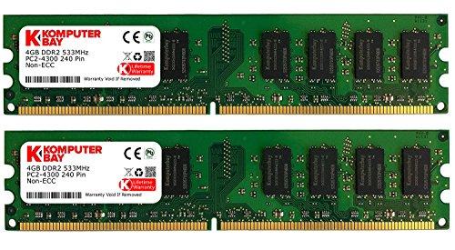 Komputerbay 8GB 2X4GB DDR2 DIMM 533MHz PC2-4200 PC2-4300 (240 PIN) Desktop-Speicher -