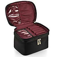 CHICECO Nylon Large Brush Case Travel Makeup Bag Double Layer - Black with Burgundy Lining