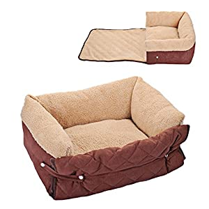 Easylifer Multifunctional Sofa Pet Bed Cushion Washable Removable Lounger Nest Cave Couch Quilted Dog Bed with Cover Protector for Dogs, Cats