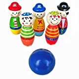 Education Toy,Fortan Children Toys Wooden Bowling Ball Skittle Funny Shape for Kids Game