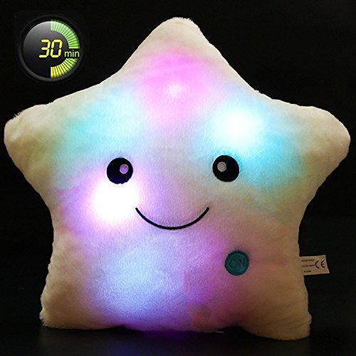 Mfeir® creativo brillante led lampada notturna cuscino di stile stella peluche giocattolo in 30×35cm bianca