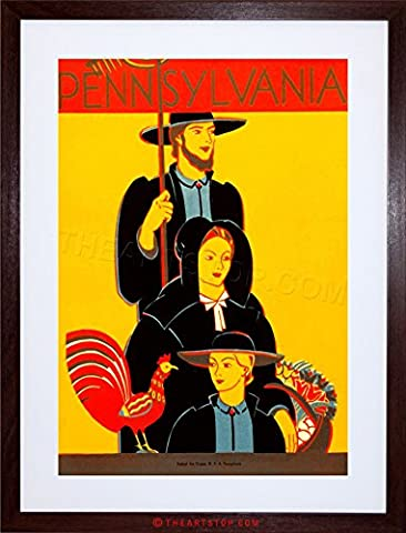 TRAVEL TRADITIONAL AMISH DRESS ROOSTER PENNSYLVANIA USA FRAMED PRINT F12X7227