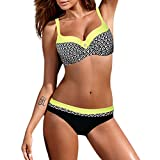 OverDose Damen Padded Push-Up-BH Dreieck Bedruckte Schlinge Bikini Set Badeanzug Badeanzug Bademode Beachwear Badeanzüge(Gelb,XXL)