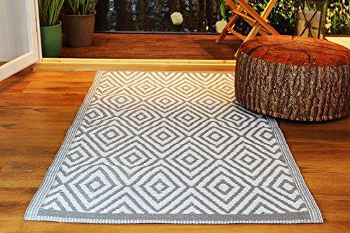 Kamaca Outdoor Teppich Raute für Terrasse Balkon Camping Garten - 90 x 150 cm - pflegeleicht robust witterungsbeständig - auch fürs Badezimmer und alle Nassräume geeignet (Grau) (Teppiche Für Badezimmer)