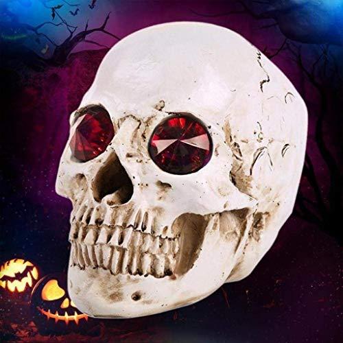 X Halloween Party Requisiten Kostüm Masken Menschlicher Kopf Harz Replik Modell Halloween Dekoration Dekorative Handwerk Schädel Party Deco Allerheiligen (Color : Rot) (Weihnachten Im Zusammenhang Kostüm)