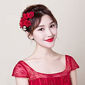 AllureGeek Beautiful Red Four Flower Hair Clip New 2017 Wedding Women and Girls Hair Accessories Bridesmaids Headpiece