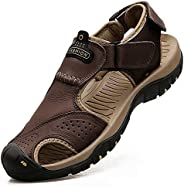 VISIONREAST Mens Leather Sandals Outdoor Hiking Sandals Waterproof Athletic Sports Sandals Fisherman Beach Sho