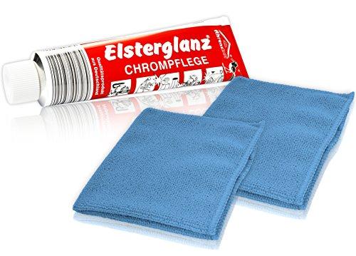* Elsterglanz Chrom-Pflege XXL-Tube 150 ml + zwei Mikrofaser-Tücher | Das Original aus Deutschland