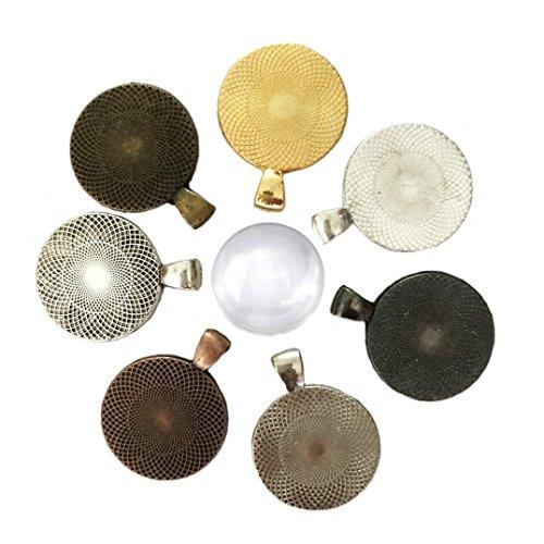 Daimay Schmuck machen Kits 35 Stück 7 Farben Runde Anhänger Tabletts  mit 35 Stück Glas Cabochon Dome Fliesen Kreis Anhänger Tabletts  - 25 mm/1 Zoll Durchmesser (Runder Anhänger Glas)