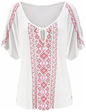 SMARTLADY Mujer Verano Bohemia Imprimir manga corta Camisa Tops Blusa Camiseta